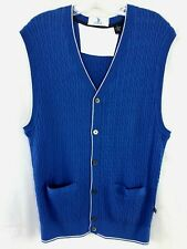 Golf US OPEN Cardigan Sweater Vest Men L Cotton Cashmere V Neck Blue Cable