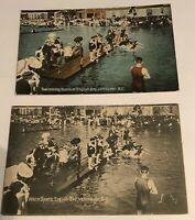 Vintage 1900'S Postcards Swimming Races At English Bay. Vancouver B.C Lot Of 2!!