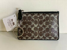NEW! COACH BROWN BLACK COATED CANVAS LEATHER ID SKINNY CARD WALLET & KEY HOLDER