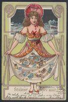 CZE 33445) Künstler AK Jugendstil Neujahr Geld 1902 VYSOCANY Nachporto