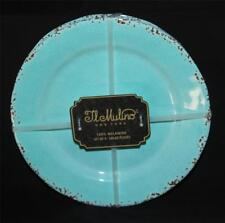 "4 IL MULINO Turquoise Crackle Distressed Border Melamine 11"" Dinner Plates NEW"