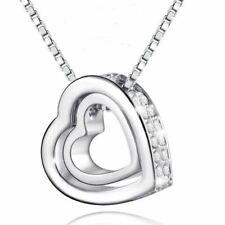 Collier Pendentif Double Coeur Cristal Blanc Plaqué Or 750