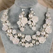 Ceramic Flower Ivory Pearl Crystal Necklace Earrings Set Bridal Wedding Jewelry
