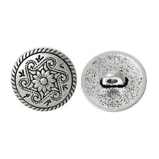 8 PCs Zinc Based Alloy Metal Sewing Shank Buttons Antique Silver Flower Carved