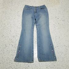 Arizona Junior's Vintage Denim Jeans ~ Sz 11~ Blue ~ Flare ~ Embroidered