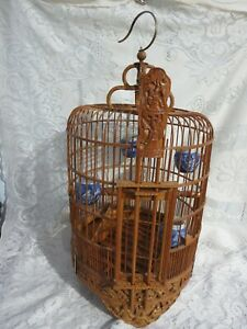 Vintage Chinese Bamboo Bird Cage w/ 4 Porcelain Bird Feeders