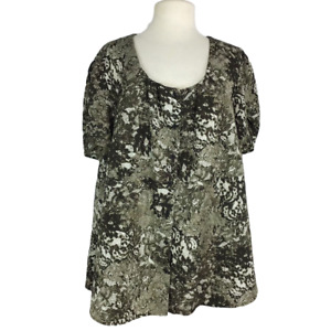 Lane Bryant Womens 26 28 Floral Top Fitted Square Neck Empire Waist SS Buttons