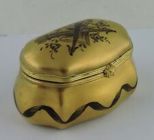 LE TALLEC PARIS FRANCE PORCELAIN GOLD TRINKET/RING BOX FLOWER CLASP RIBBON PAINT