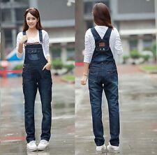New Lady Long Denim Jeans Work Farm Jumpsuits Strap Trousers Bib Pants Overalls