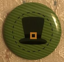 "Pin: Saint Patrick's Day 1"" Round Pin Featuring a Leprechaun Top Hat!."