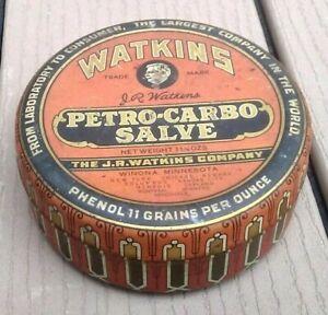 Vintage Watkins Petro-Carbo Salve Full Can Advertising tin Antique
