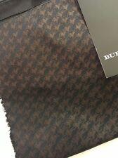 NEW BURBERRY LONDON Black Tan Silk Scarf Nova Check Italy Long Logo Horse