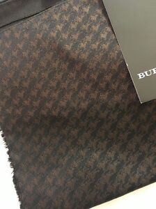 NEW BURBERRY LONDON Black Tan Silk Scarf Nova Check Italy Authentic Logo Horse