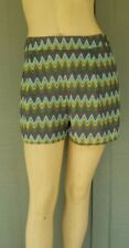 GIANNI BINI Aqua Green Zig Zag Knit Shorts Small S