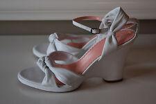 "Anne Klein White Wedge Leather Sandals Heels Career Easter Excellent 9.5 4"" heel"