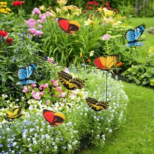 50PCS Butterfly  Dragonfly Stakes Outdoor Yard Garden Flower Pot Decoration
