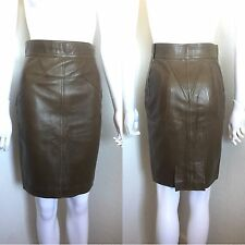 Rare Vtg Alaia Olive Green Fitted Leather Pencil Skirt 38