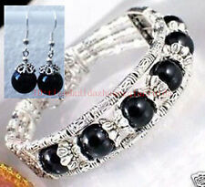 Ladies Tibetan Silver Bangle Balck Agate Woman Bracelet Earrings Set