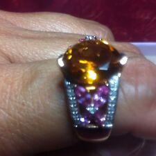 Citrine, Madeira , Ring- 5.7ctw  with Pink Sapphire marquis gemstones-Sz 8