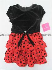 75% OFF! AUTH AMY BYER GIRLS VELVET POLKA TIERED DRESS SIZE 6 BNWT US$ 58+