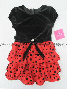 75% OFF! AUTH AMY BYER GIRLS VELVET POLKA TIERED DRESS SIZE 6 BNWT US$ 58+