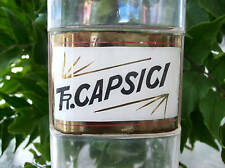 RARE Glass Label Apothecary Bottle~LUG~1800's~TR.CAPSICI~Excellent Condition