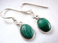 Small Malachite Oval Ellipse 925 Sterling Silver Dangle Earrings New