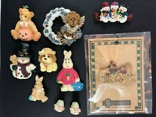 Lot of 8 Holiday Pins ~ Boyd Bear Halloween Bear Snowmen Bunnies Dog + Earrings
