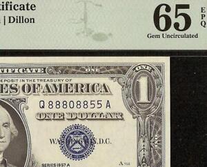 1957A $1 DOLLAR BILL 88808855 SILVER CERTIFICATE NOTE PAPER MONEY PMG 65 EPQ