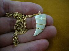 (J204-11) white Mother of pearl gemstone carved tooth PENDANT gold necklace