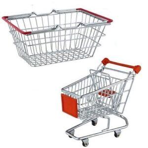 Stainless Steel Apollo Set Of Mini Kids Shopping Trolley & Basket Toys Chrome