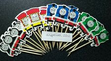 12 x Thomas & Friends Cake Picks / Cupcake Toppers Henry , Emily, Birthday Flags