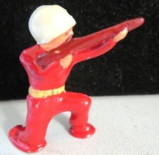 Barclay Lead Toy Pod Foot Soldier Sniper Kneeling RARE In Red B-233a Near Mint