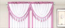 AMY 1PC  Pink  White Faux Silk Rod Pocket Swag Waterfall Dressing Valance