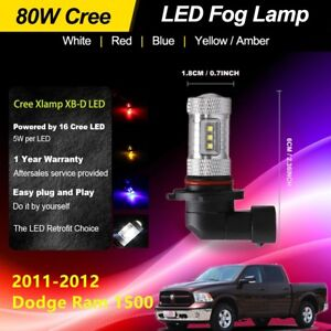 2pcs LED Fog Lights Bulbs Car 80W High Power Fit 2011-2012 Dodge Ram 1500