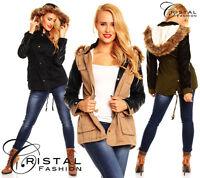 Winter Damen Jacke Mantel Fell Blogger Lederärmel Parka Kapuze XS S M L XL X565