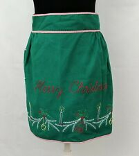 Vintage Green Merry Christmas Embroidered Apron Candy Cane Stripe Trim w/Pocket