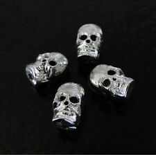 2 Solid Brass Skull Beads Silver Plated - Steampunk, Goth, Rock and Roll
