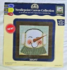 Vintage DMC Needlepoint Canvas Snow Happy Snowman Christmas Holidays 8 x 8 in