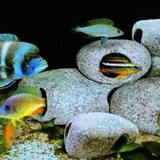 3x Ceramic Rock Cave Fish Tank Aquarium Cichlid Stone Shrimp Breeding Decor Home