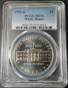 :1992-D $1 White-House-Commemorative-Silver-Dollar PCGS MS-70 High-Grade Top-Pop