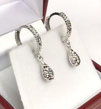 18k Solid White Gold Cute Tear Drop Dangle Hoop Earrings, Diamond Cut 1.25 Grams