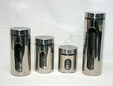 4pc vetro finestra BOMBOLETTA Set-per tè, caffè, zucchero BARATTOLI Cannister Set