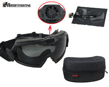 Tactical Regulator Goggles with Fan Military Anti-fog Dust Safety Glasses Black