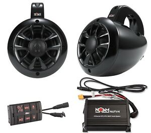 Noam NUTV4 - Marine Bluetooth Rzr Canam Atv Golf Cart Utv Speakers Stereo System