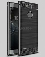 For Sony Xperia XA2 Carbon Fibre Gel Case Cover Brushed Shockproof Hybrid