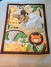 "TIDDLIWINKS Crib Quilt Jungle Animals BROWN 46""x36"" Monkey Giraffe Elephant"