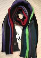 Paul Smith Men Scarf Made In Germany 100% Wool Knitted Wide Airtex Black