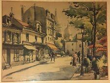 Vintage Andre Krafft Signed Artwork Paris France Watercolor Street Scene 1950s