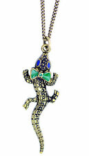 Vintage style bronze crocodile alligator gator with a bow charm necklace